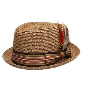 Other - Men's Natural Brown Straw Fedora Hat